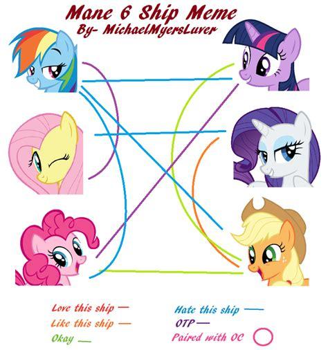 Mane Meme - mane 6 ship meme by thetechnocat on deviantart
