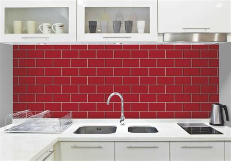 Red & White Subway Tile Effect, Tiling On A Roll, Bathroom