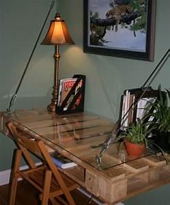 Lampe En Palette : bureau en palette mod les diy et tutoriel pour le fabriquer soi m me ~ Voncanada.com Idées de Décoration