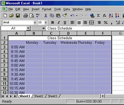 excel class schedule creating a class schedule using excel