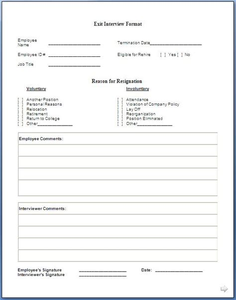 exit interview forms templates job exit interview form