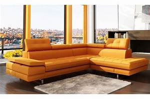 canap mobilier prive With canapé cuir orange