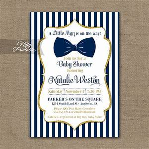 Bow Tie Baby Shower Invitations - Navy Blue Gold - Nifty
