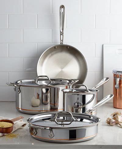 clad copper core  piece cookware set cookware cookware sets kitchen macys