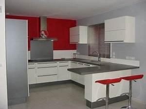 Deco cuisine rouge et gris photos cuisine et deco for Idee deco cuisine avec deco salon gris