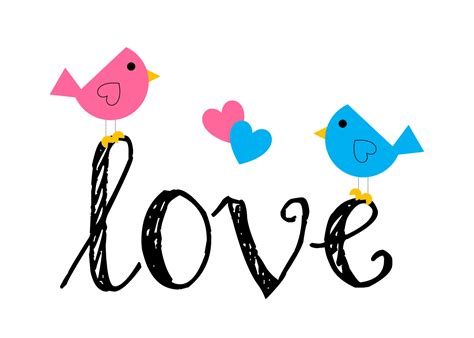 Love Birds Clipart 20 D Cute Bird Black And White Wide ...