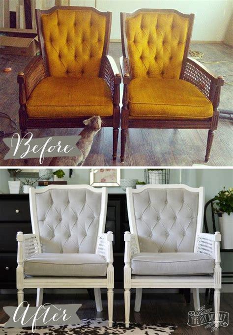 vintage cane chair pair makeover  grey velvet