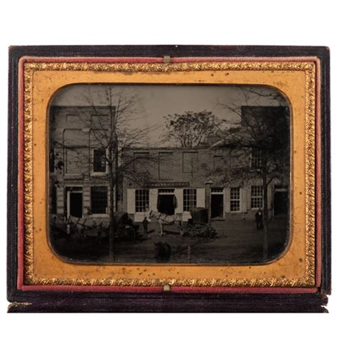 fine quarter plate ambrotype capturing early street view