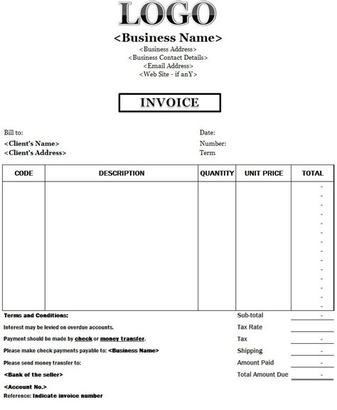 custom business invoice template invoice templates
