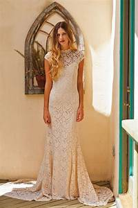 simple elegant lace wedding dress w cap sleeve With stretch lace wedding dress