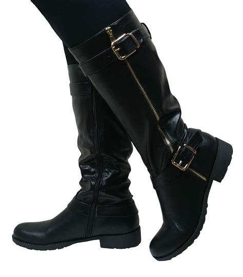 female motorbike boots ladies women leather style knee high chunky block heel