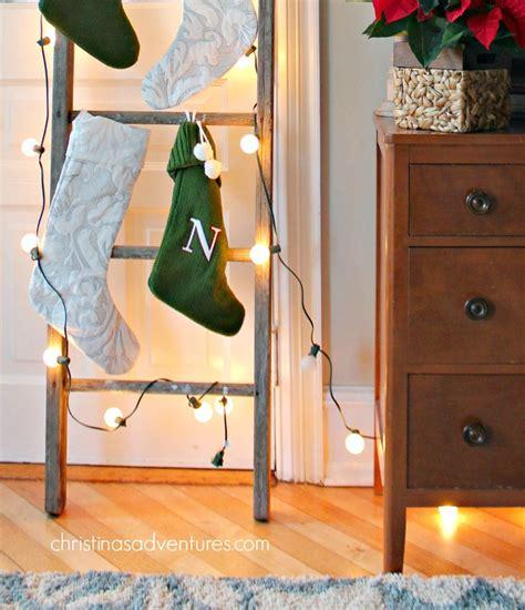 hang stockings   ladder christinas adventures