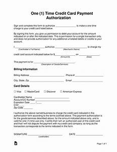 Free One  1  Time Credit Card Payment Authorization Form
