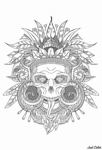 Coloring Aztec Skull Pages Adults Shades Grey