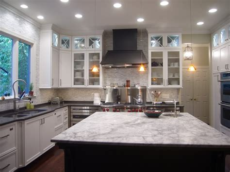 white kitchen island with black granite top hooked on hickory if you can t stand the heat kitchen 2217