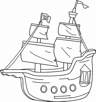 Clipart Pirate Ship Clip Coloring Outline Pirates