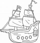 Ship Pirate Clip Clipart Boat Coloring Line Outline Sails Template Pirates Clipartix Wikiclipart Sweetclipart Library Related sketch template