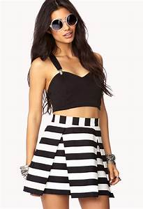 Forever 21 Daring Stripe Pleated Skirt | Where to buy ...
