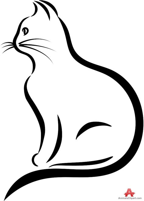 cat drawing outline clipart