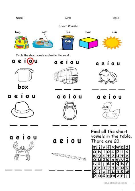 short vowels aeiou worksheet  esl printable