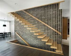 White oak floating stair - Modern - Staircase - Edmonton