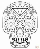 Coloring Skull Sugar Pages Easy Printable Popular sketch template