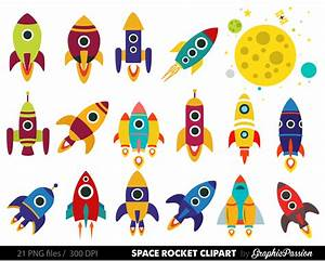 Retro Rockets Clip Art Clipart Spaceship Rocketship Space