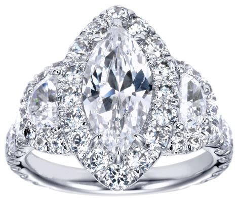 halo marquise engagement rings engagement ring marquise halo engagement ring half moon side stones es1042