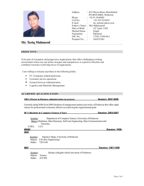 Format For Writing Cv by Curriculum Vitae Sles Format Exles Cv