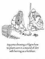 Coloring Thanksgiving Squanto Pilgrims Plantation History Plimoth Preschool Template Native sketch template