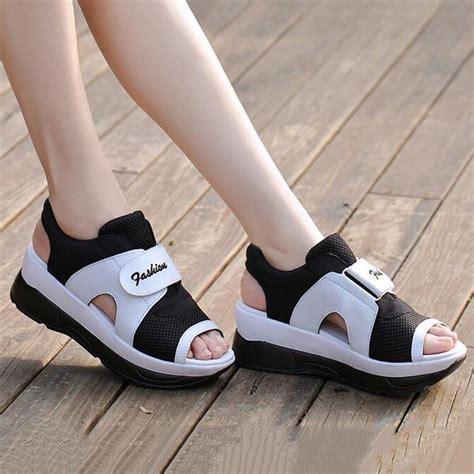women open toe sneakers casual mesh trainers platform