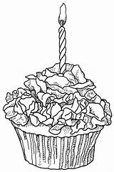 Coloring Cupcake Birthday Printable Rose Cupcakes Adult Drawing Stamps Ausmalbilder Adults Colouring sketch template