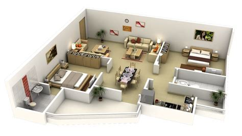 "50 Two ""2"" Bedroom Apartment/House Plans   Architecture"