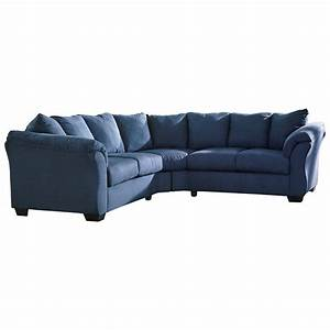 Signature design by ashley darcy blue contemporary for Sectional sofas by ashley furniture
