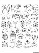 Coloring Desserts Cake Popular sketch template