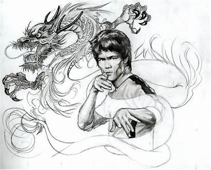 Bruce Lee Deviantart Dragon Coloring Wip Sketch