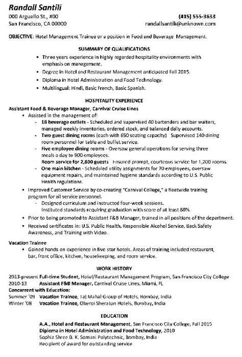 Functional Resume Leadership Skills by Functional Resume Sle Hotel Management Trainee Png Free Sles Exles Format Resume