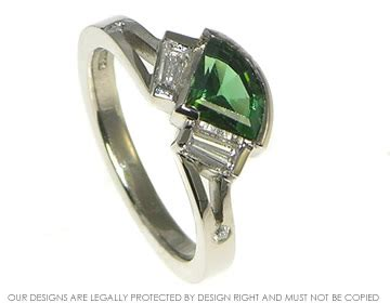 fan shaped art deco inspired 0 88ct deep green tourmaline engagement ring harriet kelsall