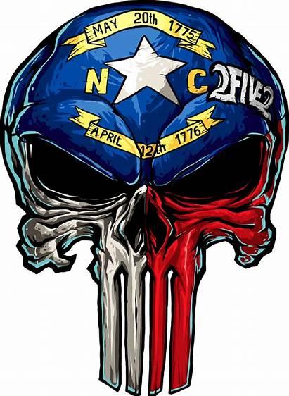 Skull Nc Sticker Flag State Msrp Stencil
