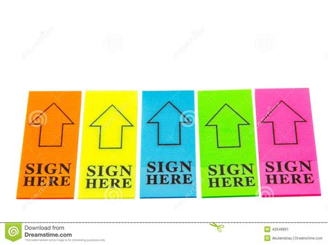 Colorful Sign Here Arrow Tag Stock Image  Image 42648891