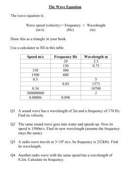 Collection Of Wavelength And Frequency Worksheet Bluegreenish