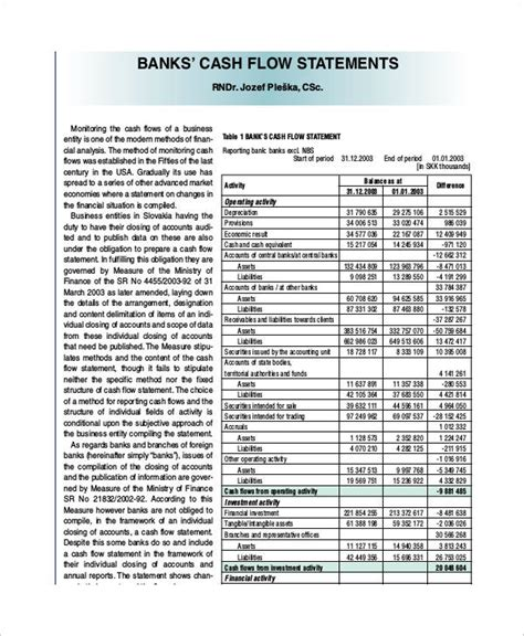 cash flow statement examples samples  word