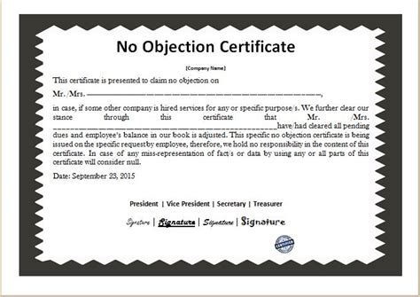 objection certificate templates microsoft word