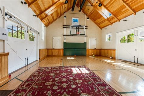 indoor basketball court home gym traditional  chicago paint