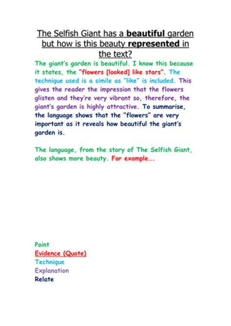 selfish giant reading assessment  year   hunnib