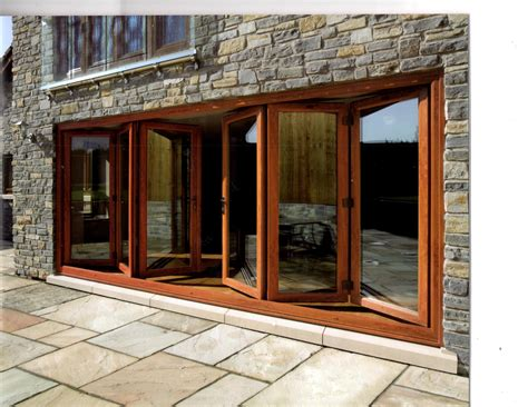 brown teak wood frame sliding patio glass door combination