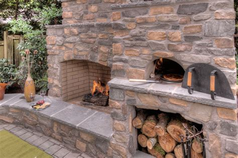 Outdoor Kitchen Countertops Ideas - outdoor fireplace with pizza oven spaces traditional with outdoor fireplace outdoor living