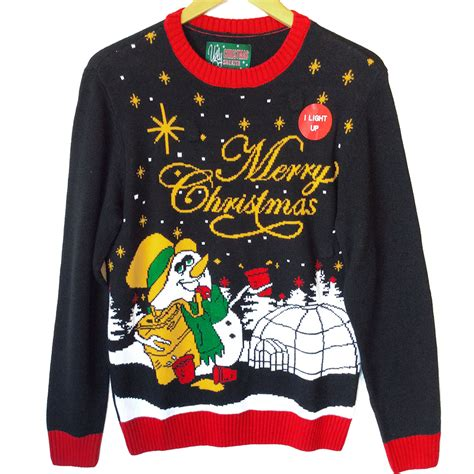 drunken snowman light up tacky sweater
