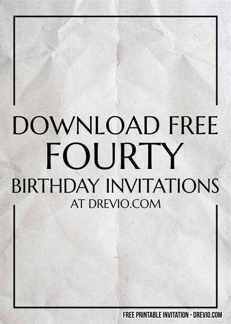 FREE Printable 40th Birthday Invitation Templates for Men