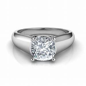 Lucida wide band cushion cut diamond engagement ring for Cushion cut engagement rings with wedding band